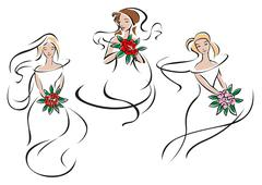 Brides or bridesmaids in classic wedding outfits - stock illustration