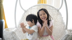 Asian children claping Stock Footage