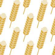 Cartoon wheat or barley spikes seamless pattern - stock illustration