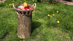 Easter eggs on the stump Stock Footage
