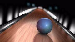 Bowling ball strike POV animation. Stock Footage