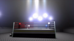 Empty boxing ring in sport arena. Stock Footage