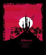 Grungy Halloween background with haunted house, bats and full moon Stock Illustration
