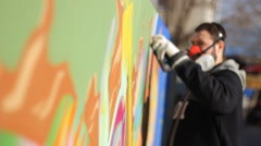 Rap artist Teenager make graffiti on the wall Stock Footage