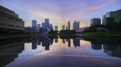 Sunrise at Symphony Lake, KLCC / Petronas Twin Tower, Kuala Lumpur Malaysia. Stock Footage