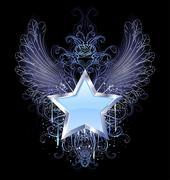 blue star on a dark background - stock illustration