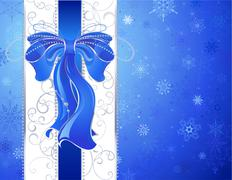 Blue bow on a blue background. Stock Illustration