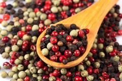 Pepper seasoning mix in wooden spoon - stock photo