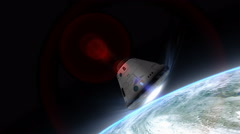 Artist rendering, Space capsule descending to Earth. Stock Footage
