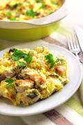 Chicken breast and cauliflower casserole - stock photo