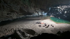 Camp inside cave panorama Stock Footage