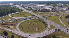 Highway Cloverleaf Interchange Aerial View Stock Footage