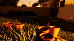 Backyard night colored slider move Stock Footage