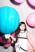 Little cutie with balloons - stock photo