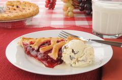 Cherry pie a la mode - stock photo
