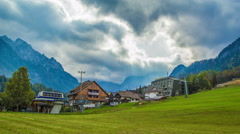 Time lapse of mountain landscape in Kranjska Gora with touristic buildings Stock Footage