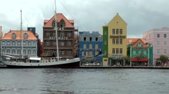 Curacao Willemstad 016 the facades of Dutch houses in downtown at rainy day - stock footage