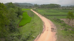 Cycling in countryside Stock Footage