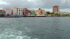 Curacao Willemstad 018 Punda downtown district seen from water side Stock Footage