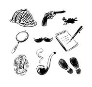Detective sketch icons Stock Illustration