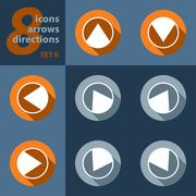 set of eight icons with arrows in all eight directions - stock illustration