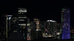 Downtown Miami Skyline - Night Time Lapse - Miami Tower Building Stock Footage