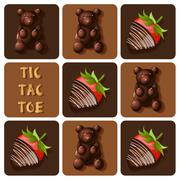 Stock Illustration of Tic-Tac-Toe of chocolate covered strawberry and jelly gummy