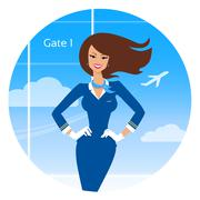Smiling stewardess - stock illustration