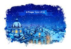 Winter Prague cityscape Stock Illustration