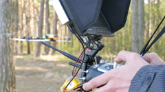 Drone Operator  Holding  radio transmitter. 4K 3840x2160 Stock Footage