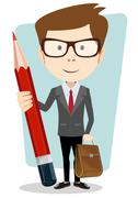 Teacher with a pencil to correct and study, vector illustration Stock Illustration