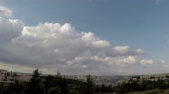 4K Jerusalem city with moving clouds (time lapse) - stock footage