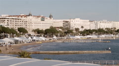 La Croisette Boulevard on Sae front at Cannes - stock footage