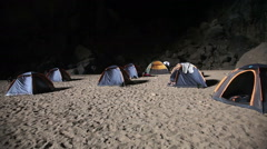 Camp inside the cave Stock Footage