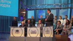 Politicians appear on TV debates in TV studios. Live broadcast, media - stock footage