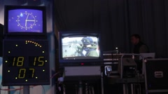 The monitors broadcasting in the TV Studio. Live broadcast, media - stock footage