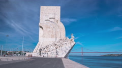 Monument to the Discoveries celebrates the Portuguese who took part in the Age Stock Footage