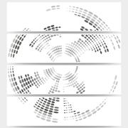 Web banners set of header layout templates, circle halftone vector backgrounds Stock Illustration
