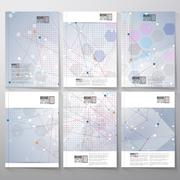 Brochure, flyer or reports with molecular structure for communication, template - stock illustration