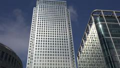 Stock Video Footage of Buildings of London financial district, England, zoom out