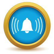 Gold alarm clock icon - stock illustration