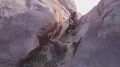 POV Exploring Rock Crevice- Joshua Tree National Park - stock footage