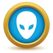 Gold extraterrestrial icon - stock illustration