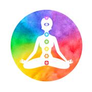 Meditation, aura and chakras - stock illustration