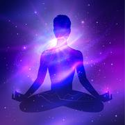 Outer space. Meditation - stock illustration