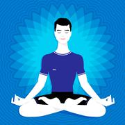 Man. Meditation Stock Illustration