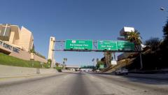 Hollywood 101 Freeway Signs Downtown Los Angeles Stock Footage