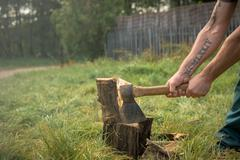 Firewood and old axe Stock Photos