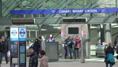 Tube and DLR station in London financial district, England Stock Footage