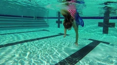 Girl underwater with a mermaid tail. Stock Footage